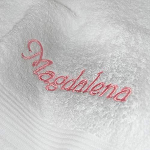 Handtuch mit Namen nach Wunsch bestickt, 50 x 100 cm, Weiß, Farbe Name Rosa, Qualität von deutschen Herstellern, schwere Premium-Qualität 550 g/qm, 100% Baumwolle, OEKO-TEX®-zertifiziert, Frottier Handtuch einfarbig, Farbe zur Auswahl, Stickerei nach Wunsch, Übermittlung Name: Button Jetzt anpassen --->