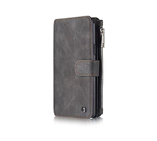 iPhone 6 Plus/6S Plus Case,[Business Type] [Luxury Exterior] [2 in 1 Design] [Multi-functional] Wallet&Back Leather Case--Brown Black