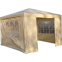 Airwave 3 x 3 m Party Tent Gazebo Marquee with Unique WindBar and Side Panels 120g Waterproof Canopy, Beige, 120g 1