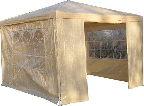 Airwave gazebo beige con pannelli laterali, copertura impermeabile 120g e telaio in acciaio rivestito a polvere, 3 x 3 m