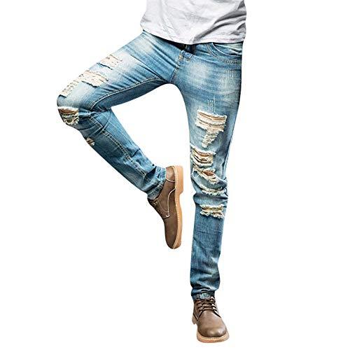 LHWY Hose Herren Winter Männer Casual Herbst Denim Cotton Straight Ripped Loch Lang Jeans Teen Jungen Party Kleidung (36, Light Blue) -