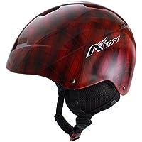 sourcingmap® Adulti Grid Stampata Ciclismo Sci Skate Protective Casco Rosso Nero
