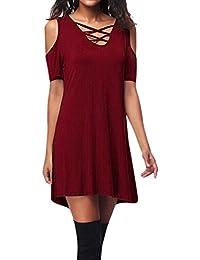 505c25022ad9 SOMESUN T-Shirt Criss Cross Da Donna a Manica Corta Maniche Corte Con Tasca  Abito