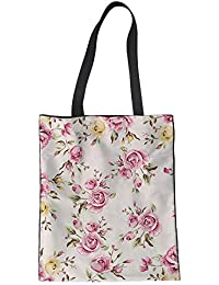 FORUDESIGNS Flowers Tote Canvas Shopping Bag Custom Logo Foldable Shopping Bag Travel Handbags Eco-friendly Supermarket...