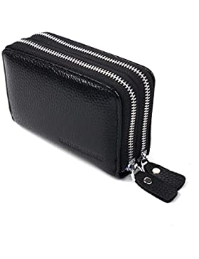 NYCOODNY Leather Credit Card Case Zipper Purse Unisex Wallet with Id Holder Card Wallet with Coin Women Card Wallet...