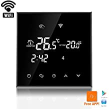 beok WiFi habitación termostato Digital programable por suelo radiante calefacción eléctrica inalámbrico controlador de temperatura con pantalla táctil LCD y sensor de suelo, mando a distancia en línea Control por Smartphone, AC230V 16A, Negro, negro, 230.00 voltsV