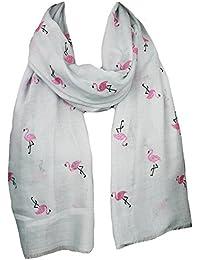 Mevina Damen Schal mit buntem Glitzer Flamingo Print Uni Metallic rechteckig Tuch Schal Halstuch