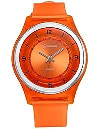 Feoya Reloj Pulsera Analógico de Cuarzo Moda Casual Wrist Watch para Niñas Niñitas - Naranja
