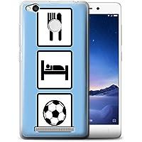 Custodia/Cover/Caso/Cassa Gel/TPU/Prottetiva STUFF4 stampata con il disegno Mangiare/Sonno per Xiaomi Redmi 3X - Calcio/Blu
