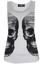 (Womens creme Double Aztec Skull Vest) Femmes Double Aztèque Crâne Gilet