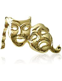 Máscara de teatro de comedia tragedia JQS - perno de la solapa insignia Amdram bronce plata