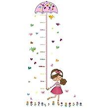 UniqueBella Vinilo Decorativo Infantil Adhesivo Pegatina de Pared para Medir Estatura Decoración Hogar Niña con Paraguas