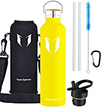 Super Sparrow Water Bottle -1000ml - Double Wall Vacuum Insulated Stainless Steel Bottle - Standard Mouth - Leak Proof Sports Bottle - with 2 Exchangeable Caps + Bottle Pouch (1000ml-32oz, Lemon)