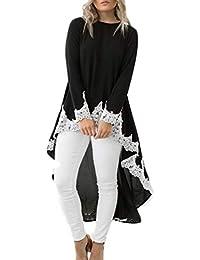 LAIKETE Vestito in Pizzo Patchwork Donna Asimmetrico Elegante Moda Abiti  Manica Lunga Collo Rotondo Swing Mini Abito Autunno Inverno… e0cc9763a0f