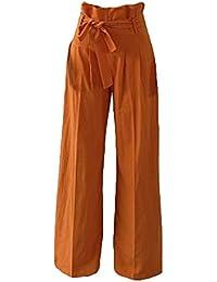 Pantalones anchos de las mujeres Pantalones acampanados flojos de las señoras Pantalones plisados de cintura alta Casual Loose Lounge Palazzo Juleya