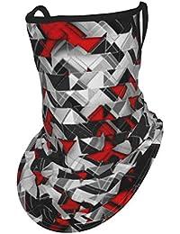 ClothCover Orejeras Bufandas para el cuello Bufanda para la cara Explosión geométrica Negro y rojo Polvo A prueba de viento Sol UV para pesca Conducción Senderismo Bandanas reutilizables Pasamontañas