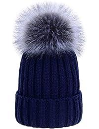 YoungSoul Bonnet tricot bébé fille chaud - Chapeau bonnet hiver garcon avec  pompon en fausse fourrure 7649fba01ed