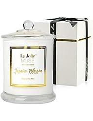 La Jolie Muse Bougies Parfumées De Jasmine Bougie Cadeau Vacance Pure Cire De Soja 60 Heure Parfum De Maison