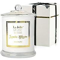 La Jolíe Muse Bougie Parfumées Jasmin Bougies Coffret Cadeau pour Noël Fête Anniversaire Maison Décor Bougie Bio en Cire Naturellle 60 Heures