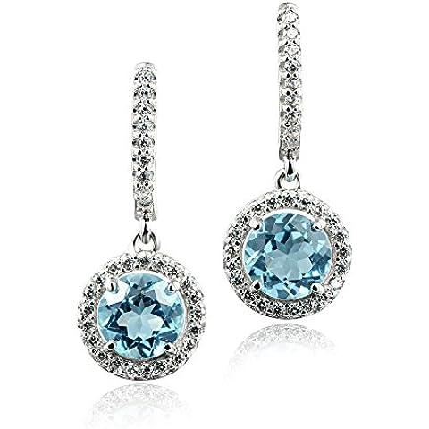 925 pulsera de plata de ley color Azul topacio blanco claro circonio cúbico en pendientes por