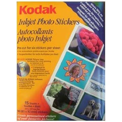 Kodak Carta Adesiva per Stampante a Getto D'Inchiostro, 15 Fogli Formato A4, Stickers da 81 x 92 mm