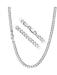 Cadena de 56 cm con corte diamante 4mm 10,5g chapada en plata de ley 925