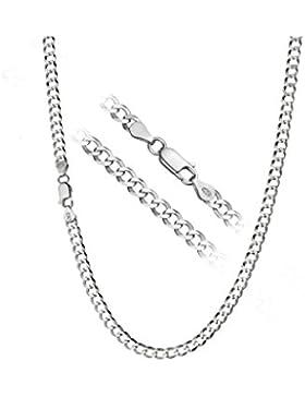 Cadena de 56 cm con corte diamante, de 4mm de grosor y 10,5g, bañada en plata de ley 925