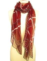Nella-Mode wunderschöner SEIDENSCHAL in modernem Karomuster, - Bordeaux-Rot & Grau Schal aus 100% Seide