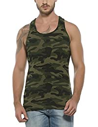 Krystle Men's Cotton Sleeveless Army Print Vest