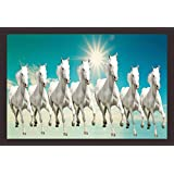 Mad Masters Seven Horses |Vastu Painting Of Horses| Lucky Charm | 7 Horses | 1 Piece Wooden Framed Painting |Wall Art | Home Décor | Painting Art | Unique Design | Attractive Frames