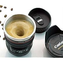 Inglis Lady Klikx Camera Lens Coffee Mug with Cookie Holder | Steel Insulated Mug Cum Thermos (Large Size, 500 Ml, Black)