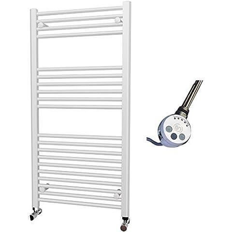 Elettrico Bianco Dritto riscaldato portasciugamani elemento termostatico, 1200mm x 600mm
