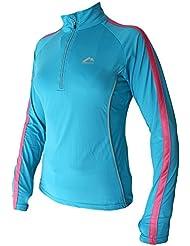 More Mile - Camiseta de running de manga larga para mujer, con media cremallera