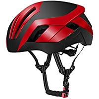 Flowerrs Casco Scooter Casco de Bicicleta Ajustable para Adultos Casco de Bicicleta de montaña porosa Casco de Bicicleta de una Pieza (Rojo + Negro) Skate Helmet