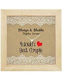 Yaya Cafe Rakhi Gifts for Bhaiya Bhabhi Desk Clock Worlds Best Bhaiya Bhabhi Canvas - 6X6 Inches