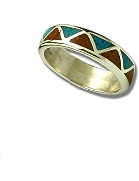 Indianerschmuck Sterling Silber Ring Chip Inlay Türkis Koralle Weddingring