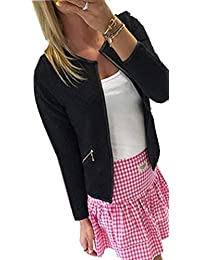 d6bc6998dc206 Hmarkt Women Crew Neck Casual Open Front Plus Size Zip Trim Jacket Coat  Outerwear Blazer
