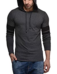 Cenizas Men's Hooded Full Sleeves Dual Tone Round Neck Casual Tshirt