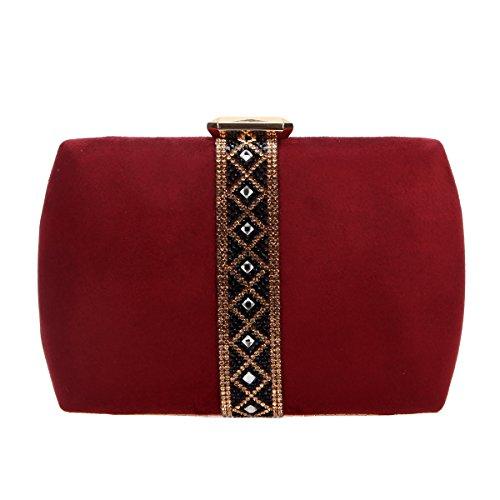 Bonjanvye Velvet Diamonds Evening Purses for Women Clutch Bags Red