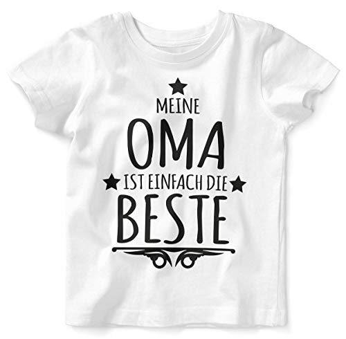 Mikalino Baby/Kinder T-Shirt mit Spruch für Jungen Mädchen Unisex Kurzarm Meine Oma ist einfach die Beste | handbedruckt in Deutschland | Handmade with Love, Farbe:Weiss, Grösse:92/98