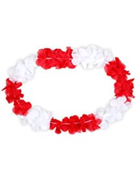 Alsino 24 Stk. Hawaiiketten Ketten Blumenketten rot weiß 10