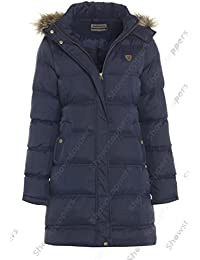 Girls Padded Quilted Parka Coat, Black, Navy, Ages 7 to 13