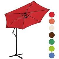 Miadomodo – Sombrilla lateral de jardín roja diámetro 3 m