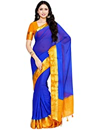 Mimosa Chiffon Saree With Blouse Piece (_Royal Blue_Free Size)