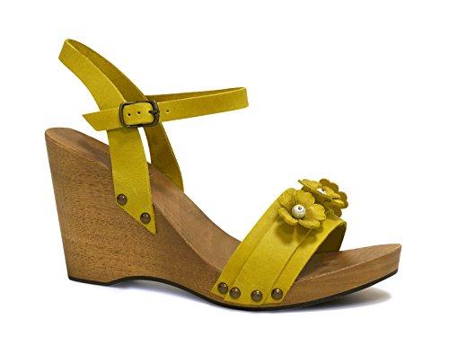 Sandali zeppa in legno in pelle di vitello color giallo - Codice modello: 090 GIALLO - Taglia: 37 IT