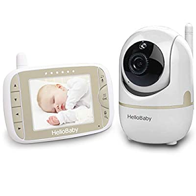 HelloBaby Video Baby Monitor with Remote Camera Pan-Tilt-Zoom 3.2 Inch Color LCD Screen Infrared Night Vision Temperature Monitoring Two Way Talk Champagne Gold HB65