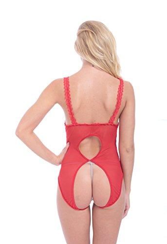 Plus Size Overalls Bodysuit, RainRR Frauen sehen durch ein Stück Dessous Lace Nightie Jumpsuits , Rot - XX-Large - 2