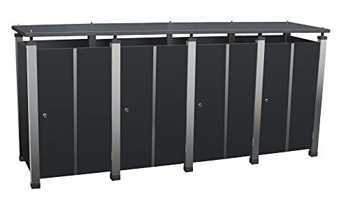 Mülltonnenbox Metall, Modell Pacco E Quad19 für vier 120 ltr. Tonnen