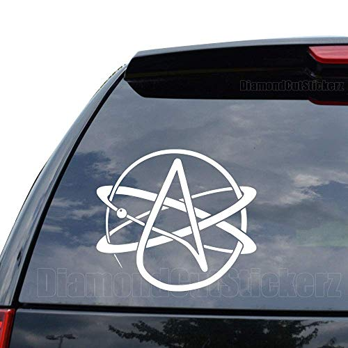 Atheist Atheism Symbol Decal Sticker Car Truck Motorcycle Window Ipad Laptop Wall Decor - Size (05 inch / 13 cm Wide) - Color (Matte White)