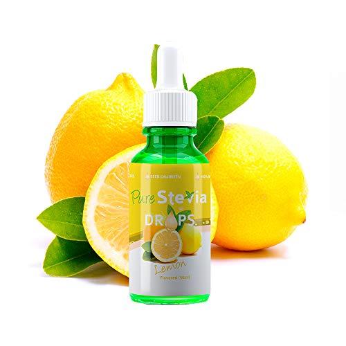 Stevia Tropfen Zitrone 50ml - Flüssiger Süßstoff - Natürliche Zutaten (Zitrone) - PureStevia